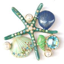 Sea Star Starfish Shell Green Conch Pearl Beach Nautical Sparkle Brooch Pin Gift