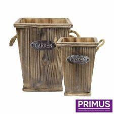 Round Wooden Flower & Plant Barrel Tub Planters Boxes
