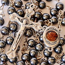 Natural Black Hematite Healing Gemstone Beads Catholic Rosary Crucifix Necklace