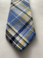 Penguin White, Blue And Yellow Plaid Tie Cotton Skinny Width