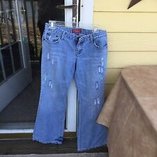 Aeropostle jeans size 5/6 short medium wash womens embroidery distressed