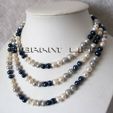 """52"""" 7-8mm Multi Color White Gray Navy Freshwater Pearl Necklace"""