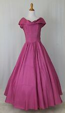 Vintage Emma Domb 1940's Prom Gown Debutante Princess Dark Pink Rayon Dress M 8