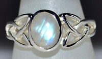 Rainbow Moonstone Sterling SILVER Celtic Ring Natural Gemstone 925; L 5½ to Z12½