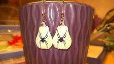 White Pumpkin with spider for Halloween or Thanksgiving time Dangle Earring