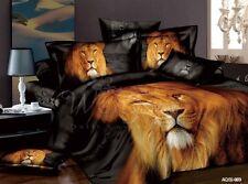 100%Cotton Lion Doona Duvet Quilt Cover Set Queen Size Bed Animal PillowCase New