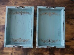 Vintage Blue Ottoman Wooden Serving Trays with Handles Set of 2,Pattern Designed