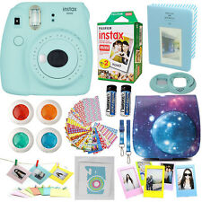 Fujifilm Instax Mini 9 Instant Camera Ice Blue + 20 Film + Sky Case Acc Bundle
