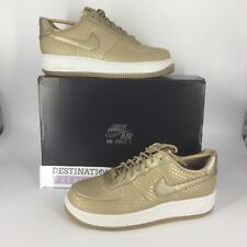 Nike AF1 Air Force 1 W 10.5 M 9 Metallic Snake Premium Gold Leather Sneakers