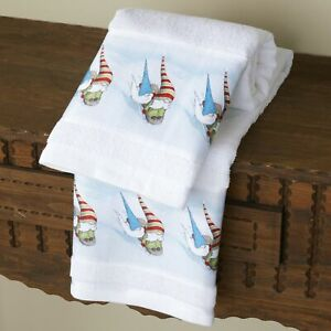 Christmas Winter Gnome Bathroom or Kitchen Hand Towels - Set of 2