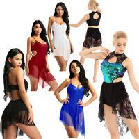 Womens Ice Skating Leotard Dress Ballet Dance Skirt Latin Contemporary Costume