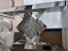 Mirrored Console Table Sparkly Silver Mirrored Diamond Crush
