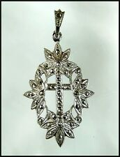 Ornate Vintage Sterling Silver Marcasite Christian Cross Pendant Signed THEDA