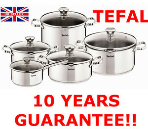 TEFAL DUETTO STAINLESS STEEL COOKWARE SET 10 PCS GLASS LID POTS KITCHEN