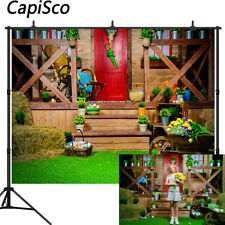 Easter Photography Backdrops Spring Wood House Grass Flowers Photo Backgrounds
