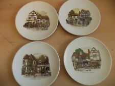 4 OLD VINTAGE POOLE POTTERY PLATES COACHING COACH HOUSES INNS BRITISH TOWNS