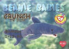 Ty Beanie Babies Bboc Card - Series 1 Birthday (Gold) - Crunch the Shark - Nm/M