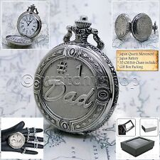 """DAD Antique Silver Pocket Watch White Dial Men Gift + 14"""" Fob Link Chain P219"""