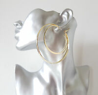 Gorgeous large oversized shiny plain GOLD tone double hoop earrings, 8cm * NEW