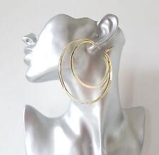Gorgeous large oversized shiny plain GOLD tone double hoop earrings, 8cm * NEW
