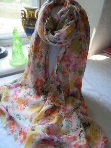 Light soft summery scarf with delicate floral print in pinks gold green & orange