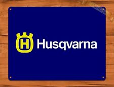 "TIN SIGN ""Husqvarna Chainsaw Blue"" Oil Garage Vintage Wall Decor"
