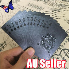 Playing Cards Waterproof Matte Black Foil Plated Poker Card Table Game 54pcs