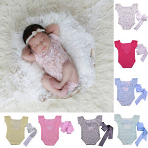 DI- AU_ FT- Newborn Baby Boys Girls Costume Outfits Photo Photography Prop Lace