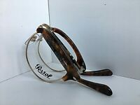 New Persol 49mm Tortoise Gold Round Clubmaster Folding Eyeglasses