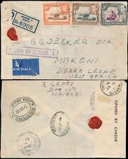 KUT KENYA to SIERRA LEONE WW2 REGISTERED 1941 AIRMAIL CENSOR BOXED + TAPE MAKENE
