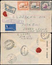 Kut Kenia a Sierra Leona Ww2 registrado 1941 Correo Aéreo censurar En Caja + Cinta makene