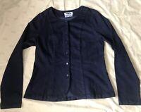 FLAX Cotton Blend Fitted Stretch Button Blazer Jacket Women's Size Sm Dark Blue