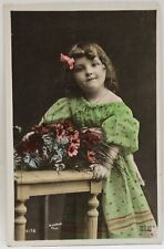 Antique 1907 Postcard Hand Colored Little Girl Green Dress And Flowers