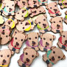 Dog Natural Wooden Buttons For Needlework Scrapbooking 2 Holes Buttons  WB521
