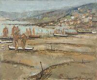 Steinlen Aimé Daniel huile sur toile signée canotage, la plage, les bateaux