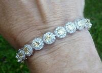 12 Ct Off White Round Cut Moissanite Tennis Bracelet 925 Sterling Silver