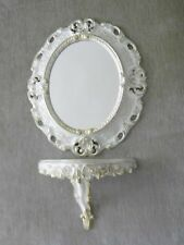 Wall Mirror Oval White Gold + Storage Bracket Baroque 45cm with Console