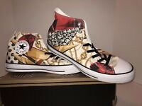 Men's New Converse Chuck Taylor High Top Print with Jewels and Gold Chains
