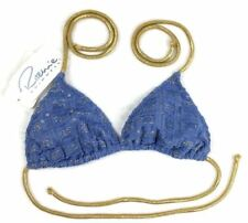 Ritchie Swimsuit Swimwear Sexy Triangle Blue Gold Bikini Top