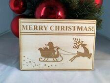 Dekobrett Weihnachtsdeko 'MERRY CHRISTMAS SCHLITTEN' aus Holz Lasergraviert
