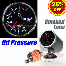"DRIFT AUTO Gauge Meter 60mm/2.4"" SMOKED Lens WHITE Light RED Needle OIL PRESSURE"