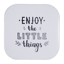 White Metal Enjoy the Little Things. Wall Art Sign Home Hanging Sculpture 15cm