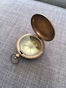 Small Brass Vintage Compass - Working Order - Free Uk Postage