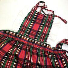 New listing Christmas Apron Bibbed Red Green Plaid Cotton Polyester Vintage Made Usa