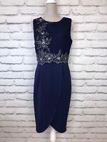 LIPSY Womens Navy Blue Sleeveless Beaded Embroidered Layered Party Dress UK 12