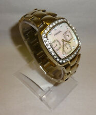 Ladies Fossil All Stainless 30 Meter Crystal Accent MOP Chrono Watch New Battery