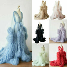 Women Tulle Maternity Robe Ruffled Dresses Maternity Gown for Photo Shoot