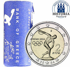 25 x Griechenland 2 Euro 2004 bfr Olympische Sommerspiele in Original Rolle