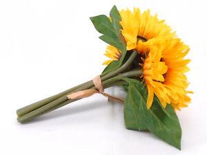"YELLOW Sunflowers Bundle Artificial Silk Flowers 11"" Bouquet 7-61012 YL"