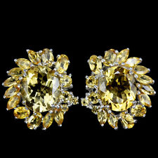 21x20mm. Ohrringe 925 Sterling Silber Weißgold beschichtet Orangegelb Citrin Neu